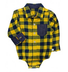 Rugged Butts Navy And Yellow Buffalo Plaid Onesie