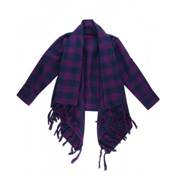 Ruffle Butts Plaid Purple Cardigan with Fringed