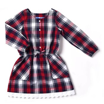 Kapital K Red Plaid Flannel Dress With Eyelet Lace Trim