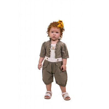 Evie's Closet Sage Green Romper with Crown Embroidery