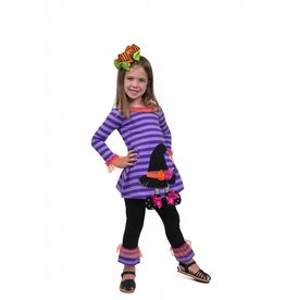 Bonnie Jean Purple Striped Witch Hat Tunic And Legging Set