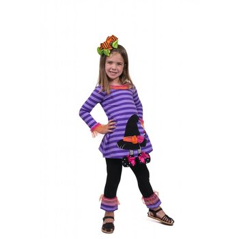 Bonnie Baby Purple Striped Witch Hat Tunic And Legging Set