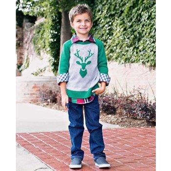 Rugged Butts Emerald Raglan Deer Sweater