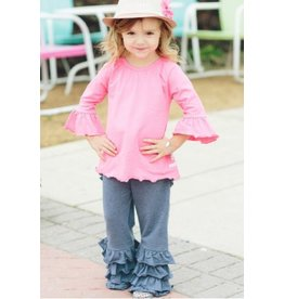 RuffleButts Faux Denim Fancy Flare Pants