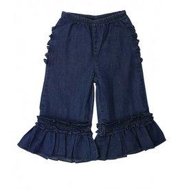 RuffleButts Denim Wide Leg Ruffle Pants