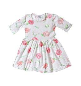 Baileys Blossoms Peach Floral Pleated Dress