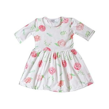 Bailey's Blossom Peach Floral Pleated Dress