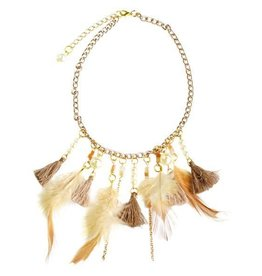 Baileys Blossoms Feather Tassel Nacklace