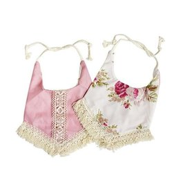 Baileys Blossoms Reversible Bib With Tassel - Pink & Floral