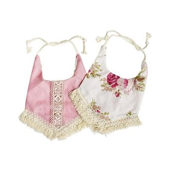 Bailey's Blossom Reversible Bib With Tassel - Pink & Floral