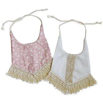 Bailey's Blossom Reversible Bib With Tassel - Mauve & Ivory