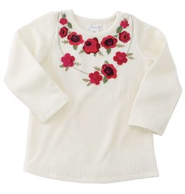 Mud Pie White Floral Embroidred Tee