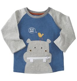 Mud Pie Hip Hip Horray Hippo Zipper Raglan