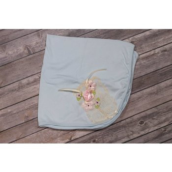 Kitty Girls Tulle & Dye Co Light Blue Take Home Blanket Ivory Lace Detail, Shimmery Flowers and Pink Ribbon