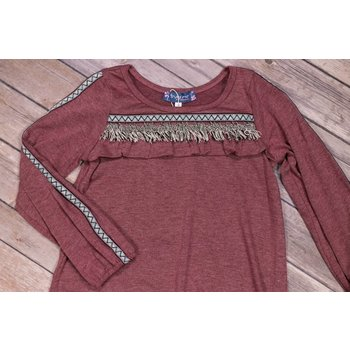 Truly Me Dusty Rose Long Sleeve A-Line Knit Dress with Fringe Trim and Detail