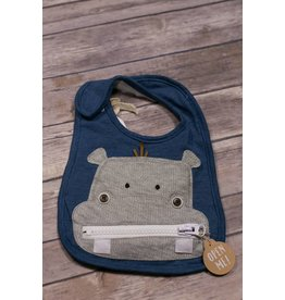 Mud Pie Hippo Zipper Bib