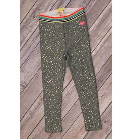 Kidz Art Grey Leggings with Gold Polk a Dots and Glittered Striped Waistband