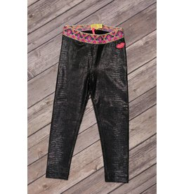 Kidz Art Black Alligator Skin Print Leggings