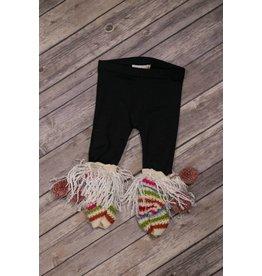 Mimi & Maggie Black Pom Pom Multi Colored Fringed Legging