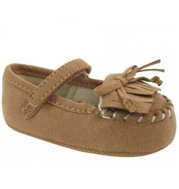 Baby Deer Suede Moccasin with Fringe & Bow