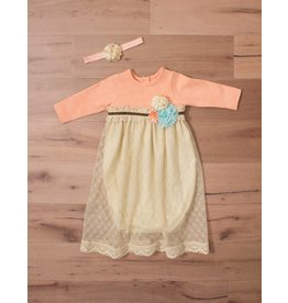 Peaches 'n Cream Peach Overlay Gown with Headband 0/3m