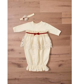 Peaches 'n Cream Ivory and Chestnut Lace Gown 0/3m