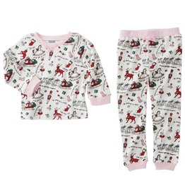 Mud Pie Girls Vintage Print Christmas Pjs