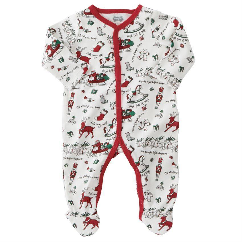 mud pie boys vintage print christmas sleeper peek a bootique - Mud Pie Christmas Pajamas