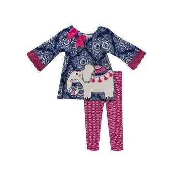 Rare Editions Navy and White Medallion Print with Elephant Set Pink Patterned Pant