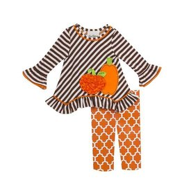 Rare Editions Brown Striped Pumpkin Tunic Set