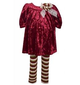 Bonnie Jean Burgundy Velvet Tunic Legging Set