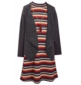 Bonnie Jean Striped Skater Dress with Sweater and Tassel Necklace
