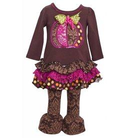 Bonnie Jean Brown Damask Pumpkin Tunic Set