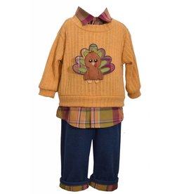Matt's Scooter Plaid and Mustard Turkey Sweater Set