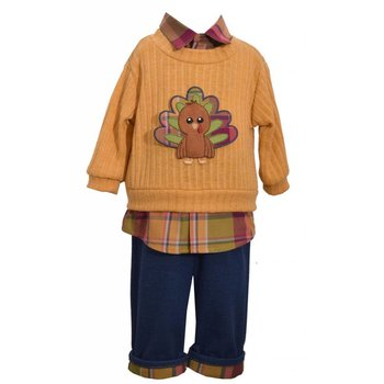 Matt's Scooter Plaid and Mustard Turkey Sweater Set