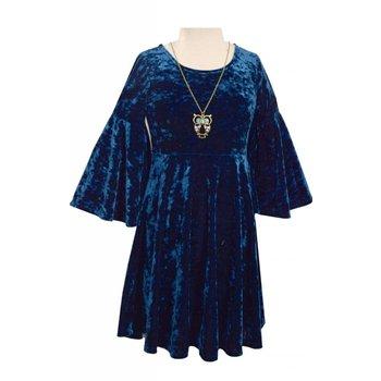 Bonnie Jean Teal Velvet Bell Sleeve Dress & Necklace