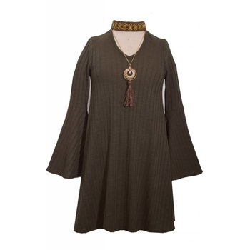 Bonnie Jean Olive Green Choker Dress with Necklace