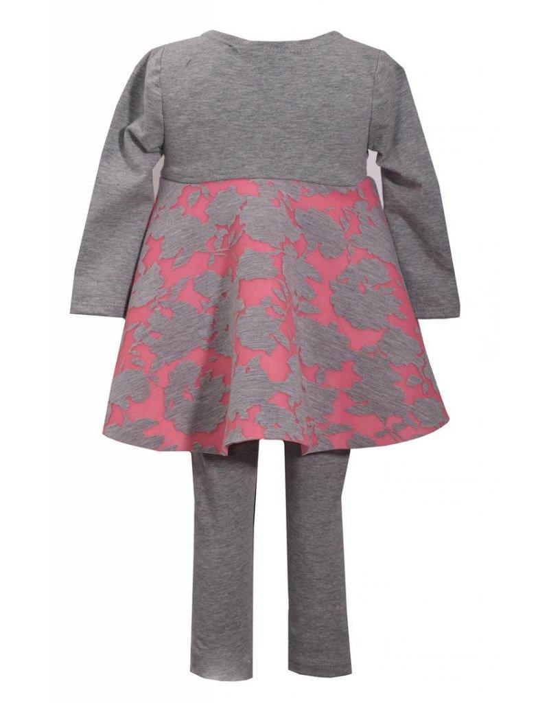 Bonnie Jean Pink & Gray Legging Set