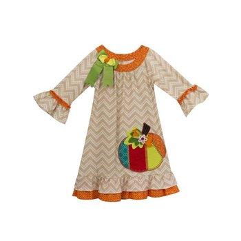 Rare Editions Chevron Multi Colored Pumpkin Dress