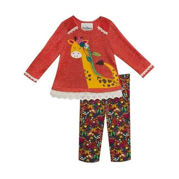 Rare Editions Coral Giraffe Sweater and Floral Leggings