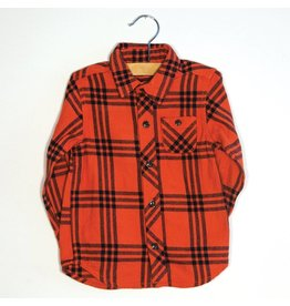 Bit'z Kids Orange and Black Plaid Flannel