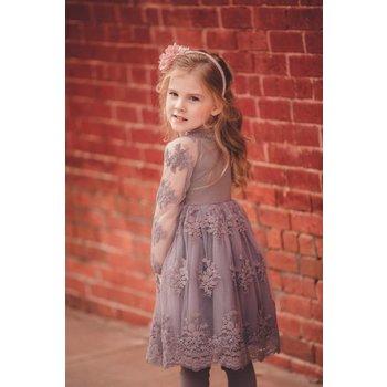 Mae Li Rose Gray Sheer Lace Dress