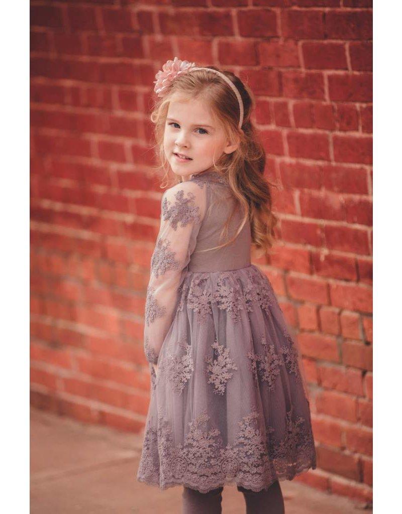 Mae Li Rose Grey Mesh Lace Dress