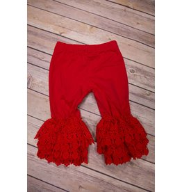 Serendipity Clothing Co Red Leggings with Crotchet Trim
