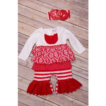 Serendipity Clothing Co Candy Cane Ruffled Romper