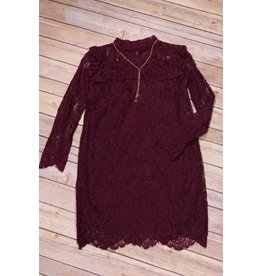 Rare Editions Wine Colored Lace Dress With Gold Necklace