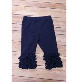 Adora-Bay Navy Ruffle Leggings