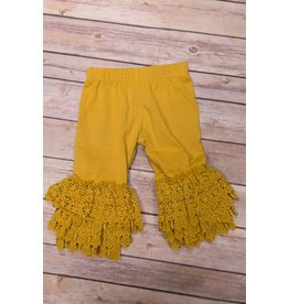 Adora-Bay Mustard Lace Cuff Leggings