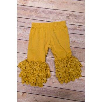 Adora-Bay Mustard Lace Cuff Leggings