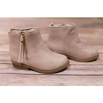 Baby Deer Champagne Shimmer Ankle Boot with Tassel